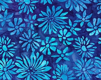 Robert Kaufman Fabrics - Bright Blooms - Blue AMD-17764-4- Batik