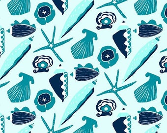 By the Sea by Andover Fabrics - Teal Sea Shells - 9268.T - Holiday