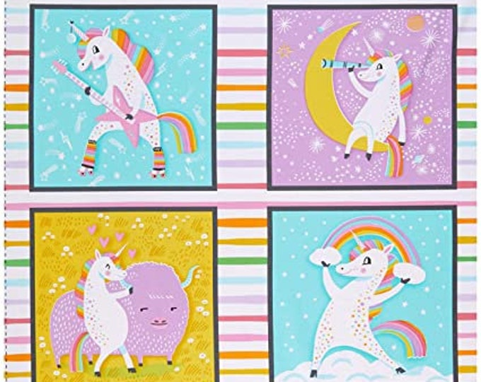 "Robert Kaufman Fabrics - Magical Rainbow Unicorns by Hello Lucky! - AIL-19053-263 - approx 24"" x 44"""