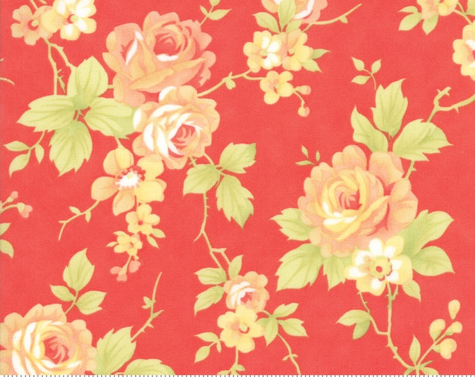 Moda - Catalina by Fig Tree Quilts - 20370-11 Roses on Red-Orange - Floral