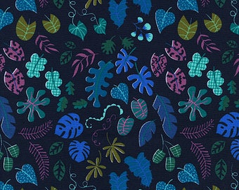 CLEARANCE - One Yard Cut - Leafy Wonder in Navy - Lagoon by Rashida Coleman-Hale for Cotton + Steel -  Quilters Cotton
