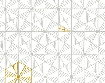 Windham Fabrics - Good Vibes Only by Shayla Wolf of Sassafras Lane Designs - Grey triangles on white hexagons (51108-2) - Blender