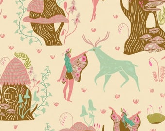 CLEARANCE - One Yard Cut - Woodland Fairies on Cream - Woodland Nymph by Rae Ritchie for Dear Stella -  Quilters Cotton