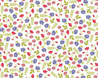 5 Yard Cut - Penny Rose - Jillilly Studios Meadow Floral on White - Floral
