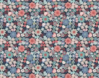 Lewis & Irene Fabrics - Michaelmas - Multi Floral on Dark Blue (A401.3) - Floral
