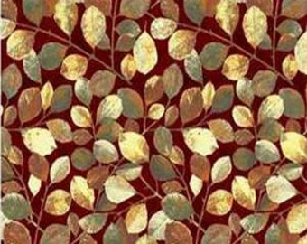 CLEARANCE - P&B Textiles - Gold Inlay Burgundy Leaves - Shades of Autumn by Norman Wyatt Jr - Holiday and Seasonal