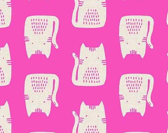 Andover / Makower Fabrics - Cat and Dogs - Hot Pink Cats (A-8966-E) - Juvenile