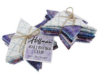 """Hoffman Bali Batik Club - April """"April Showers"""" - 12 Coordinating Fat Quarters - Quilting Cotton"""