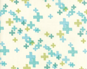 CLEARANCE - One Yard Cut - Moda - Modern BG Colorbox Backgrounds by Zen Chic Fabrics - Peacock on Porcelain Pluses -  Quilters Cotton