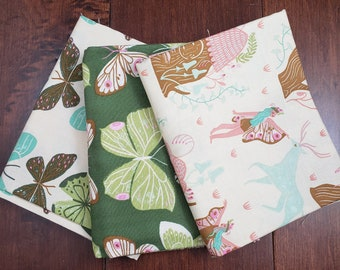 3 Half Yard Fabric Bundle - Woodland Nymph by Rae Ritchie for Dear Stella - Butterflies - Cotton