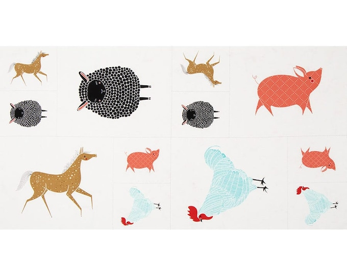 "Robert Kaufman Fabrics - Farm Charm Panel by Gingiber - 48290-11 - approx 24"" x 44"""