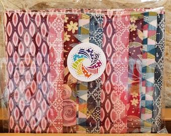 "Calliope Precut Kits - Nova by Basic Grey for Moda Fabrics - Ten 6.5"" coordinating strips - Quilting Cotton"