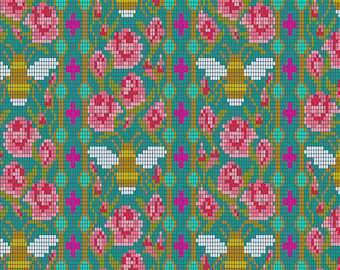 Paradise Fabric E - Handiwork by Alison Glass for Andover - Peacock Beadwork - A-9250-T