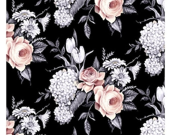 Portia Fabric E - Florella by Blank Quilting - Pink Roses on Black - 9343-99
