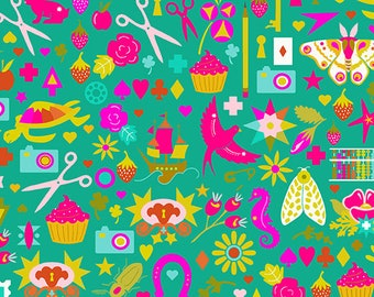Paradise Fabric C - Handiwork by Alison Glass for Andover - Jade Decoupage - A-9249-T