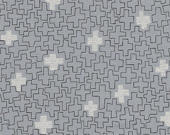 Robert Kaufman - Wayside by Karen Lewis - Silver metallic crosses on grey (AWIM-18688-12) - Modern Maker Box