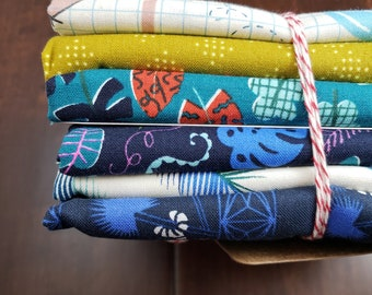 6 Print Half Yard Fabric Bundle - Lagoon by Rashida Coleman-Hale for C+S - Quilters Cotton