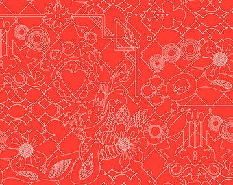 CLEARANCE - Andover Fabrics - Sun Prints 2017 by Alison Glass - Nectarine in Overgrown (A-8482-O) - Blenders
