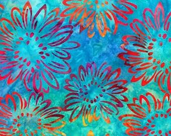 Robert Kaufman Fabrics - Bright Blooms - Aqua AMD-17768-70 - Batik