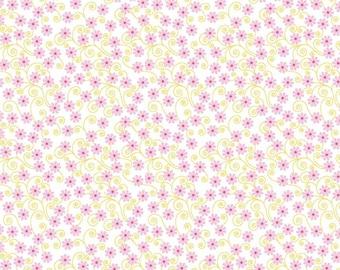 Cordelia Fabric A - Fairy Garden by Riley Blake -C7723 - White - Floral White