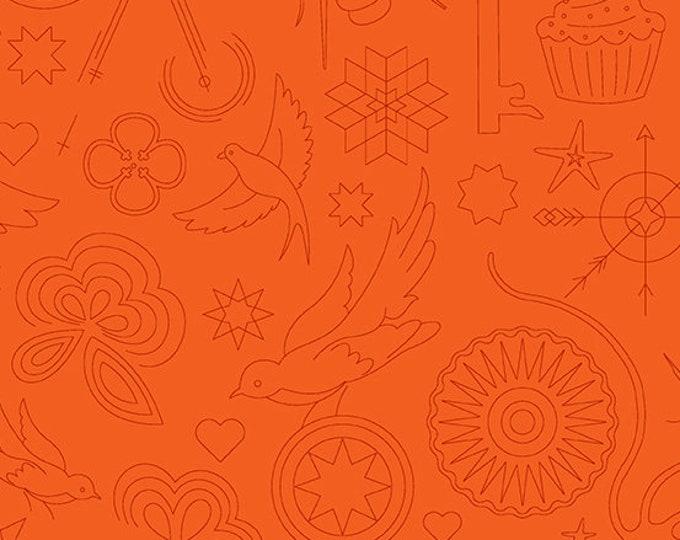 Twister Fabric E - Sunprints by Alison Glass - Pumpkin Embroidery - A-9256-O