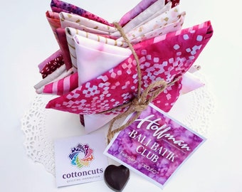 "Hoffman Bali Batik Club - February ""XOXO"" - 12 Coordinating Fat Quarters - Quilting Cotton"