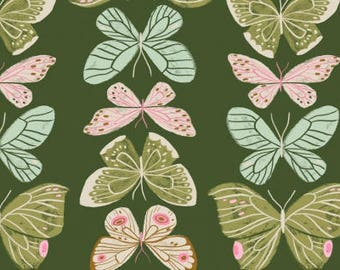 CLEARANCE - One Yard Cut - Butterflies on Green - Woodland Nymph by Rae Ritchie for Dear Stella -  Quilters Cotton