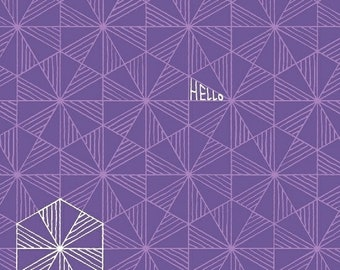 Windham Fabrics - Good Vibes Only by Shayla Wolf of Sassafras Lane Designs - Purple triangles and hexagons (51108-22) - Blender