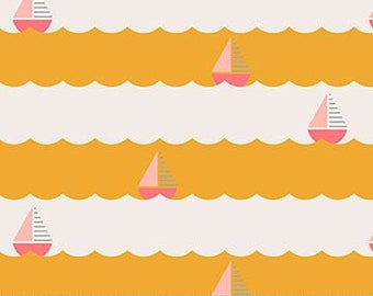 FIGO - Sunkissed (90122-52) - Pink Boats on Yellow Sea - Holiday/Seasonal