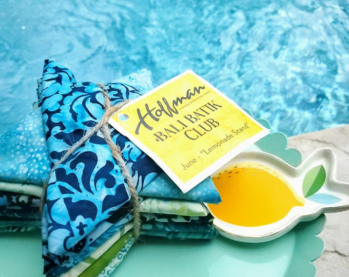 "Hoffman Bali Batik Club - June ""Lemonade Stand"" - 12 Coordinating Fat Quarters - Quilting Cotton"