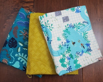 3 Half Yard Fabric Bundle - Lagoon by Rashida Coleman-Hale for C+S - Teal with Map - Cotton
