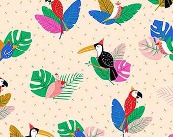 FIGO / Northcott Fabrics - Tropical Jammin' by Black Lamb - 90026-12 BEIGE - Modern