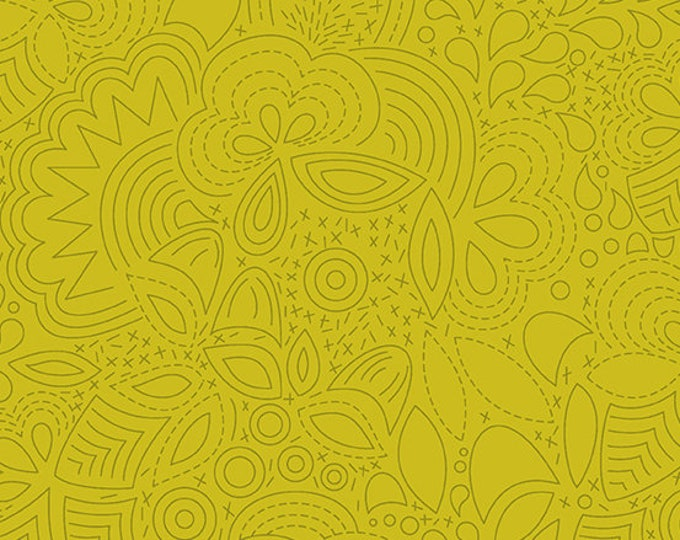 Twister Fabric F - Sunprints by Alison Glass - Chartreuse Stitched - A-8450-Y