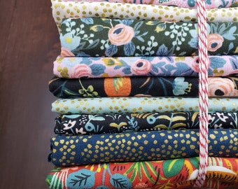 9 Print Half Yard Fabric Bundle - Menagerie by Rifle Paper Company for C+S - Quilters Cotton