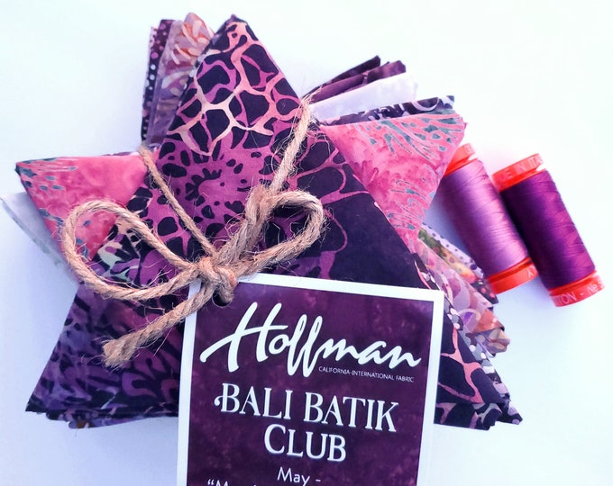 "Hoffman Bali Batik Club - May ""Mom's Favorite Merlot"" - 12 Coordinating Fat Quarters - Quilting Cotton"
