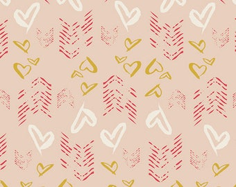 One Yard Cut - Hearts Fletching Gold - Love Story by Maureen Cracknell for Art Gallery Fabrics -  Quilters Cotton