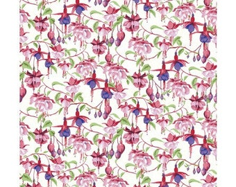 CLEARANCE - Clothworks Fabrics - Fuschias and Hummingbirds by Barb Tourtillotte - Y2355-1 - Floral