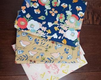 3 Half Yard Fabric Bundle - Love Story by Maureen Cracknell for Art Gallery Fabrics - Blue - Cotton