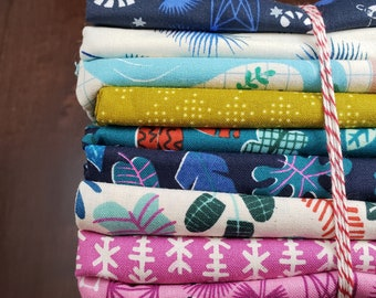 9 Print Half Yard Fabric Bundle - Lagoon by Rashida Coleman-Hale for C+S - Quilters Cotton