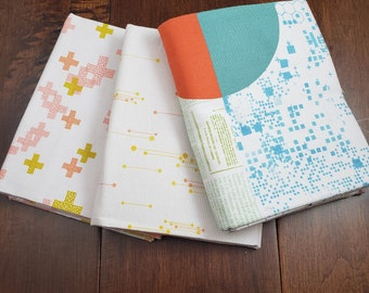3 Prints - 2 Half Yard and 1 Yard Panel - Fabric Bundle - Modern Colorbox Backgrounds by Zen Chic for Moda Peaches and Cream - Cotton