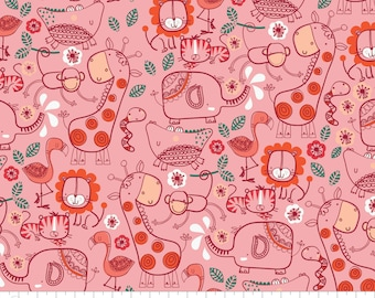 CLEARANCE - Camelot Fabrics - Jungly by Andrea Turk of Cinnamon Joe Studio - Pink Jungle Friends - 9140501-3
