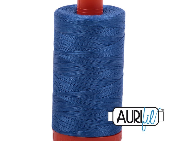 50 Wt AURIFIL Peacock Blue 6738 -  Mako Made in Italy 1300m Quilt Cotton Quilting Thread (MK50SC6)