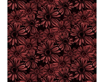 Portia Fabric B - Florella by Blank Quilting - Rust Flowers on Black - 9344-88