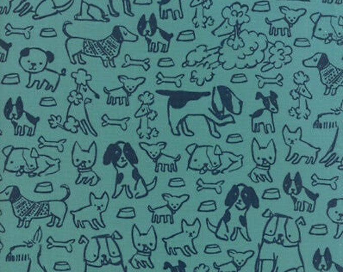 CLEARANCE - Moda - Woof Woof Meow by Stacy Iset Hsu - 20563 16 Dogs on Teal