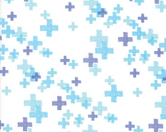 CLEARANCE - One Yard Cut - Periwinkle on White Pluses - Modern BG Colorbox Backgrounds by Zen Chic Fabrics for Moda -  Quilters Cotton