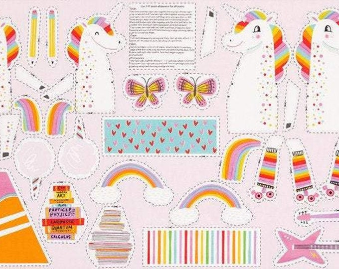 "Robert Kaufman Fabrics - Magical Rainbow Unicorns Sewing Panel by Hello Lucky! - AIL-19053-263 - approx 24"" x 44"""