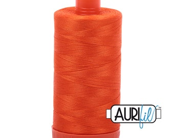 50 Wt AURIFIL Neon Orange 1104 Mako Made in Italy 1300m Quilt Cotton Quilting Thread (MK50SC6)