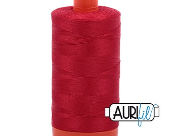 50 Wt AURIFIL Red 2250 Mako Made in Italy 1300m Quilt Cotton Quilting Thread (MK50SC6)