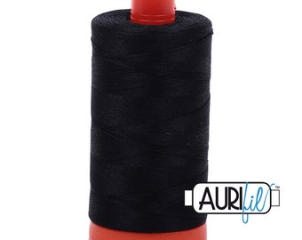 50 Wt AURIFIL - Black 2692 - Mako Made in Italy 1300m Quilt Cotton Quilting Thread