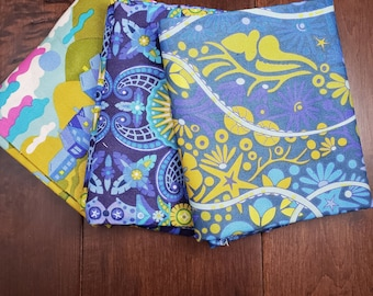 3 Half Yard Fabric Bundle - Diving Board by Alison Glass for Andover Fabrics - Blue 1 - Cotton